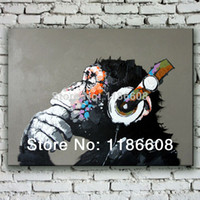 Wholesale Museum quality Handpainted Stretched to Hang Gorilla modern abstract music oil painting wall painting canvas painting home decor