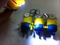 Wholesale 2015 Cartoon Key Chain Despicable Me D Eye Small Minions Figure Kid toy Keychain Chaveiro llaveros Ring Flashlight Torch LED Sound Toys