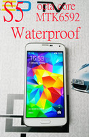 Wholesale Waterproof S5 G900F I9600 Octa Core MTK6592 Remote TV control inch HD GB RAM GB ROM Android KitKat USB GPS WIFI cell phones
