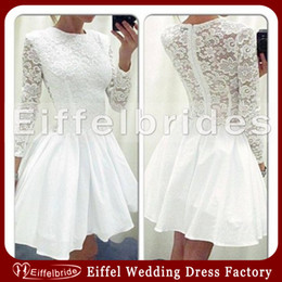 Wholesale Custom made Homecoming Dresses Long Sleeve with Attractive Lace Crew Neckline and Embellished Puffy Short White Young Girl s party Dresses