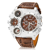 replicas - Mens Luxury Military Army Multifunction sport Style replicas watches Multiple Time Zone Compass Thermometer Big Dial PU Leather Band Watch