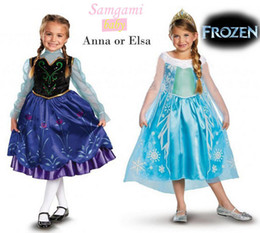 Wholesale ohlees cute frozen movie cosplay girl queen princess elsa anna dresses birthday baby gift party theme character costume for kids summer