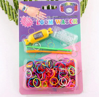 Wholesale Hot Sale DIY Knitting Braided Loom Round amp Flat Watch Rainbow Kit Rubber Loom Bands Self made Silicone Bracelet Watch Rubber Clip Hook