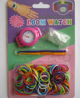 Wholesale Newest DIY Knitting Braided loom Watch Rainbow Kit Rubber Loom Bands Self made Silicone Bracelet Watch Rubber Clip Hook Factory price