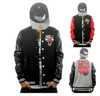 Wholesale West gangsta personality casual leather jacket hip hop outerwear hiphop baseball uniform sweatshirt