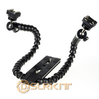 Yes DSLRKIT Yes Flexible Dual-arm Dual-shoe Flash Bracket for MACRO SHOT for CANON NIKON PENTAX
