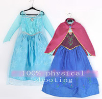 Girl Spring / Autumn Long 9%off!IN STOCK!hot sale!frozen elsa anna! Girls dress + cape! New dress! Princess dress! Costumes! !DROP SHIPPING!high quality!1pcs.DM