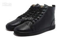 Cheap Wholesale - Women men ankle boots flats causal Shoes High-Top Lace-up red bottom Flat Shoes Black Genuine Leather Sneaker Shoes size 38-46