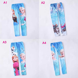 Wholesale FREE FAST WAY Frozen Elsa Anna girls children leggings long pants trousers designs
