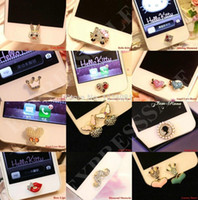 Wholesale HOT Sale pieces of home button sticker for iphone s s iPad pearl rhinestone phone decoration accessory