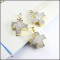 Wholesale 5pcs Nature Drusy k Gold tone Edge Crystal Druzy Cross shape Agate Slice pendant stone beads for Necklace Jewelry findings