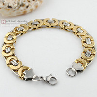 Wholesale Fashion Mens Jewelry Stainless Steel Silver amp Gold Byzantine Bracelet Chain Hip Hop Gift WB150