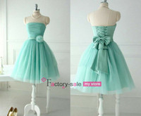 Reference Images beach mint - Mint Green Bridesmaid Dresses Beach A Line Strapless Tulle Short Homecoming Gowns with Lace up back and Flower Bow CPS004
