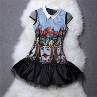 Runway Polyester Mini New Arrival 2014 Women's Turn Down Collar Cap Sleeves Character Printed Tulle Layer Organza Patchwork Fashion Dresses