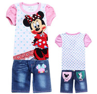 Wholesale 6 sets Summer girls Minnie Mouse cartoon T shirts jeans suit children T shirt Shorts set kids baby clothing sets