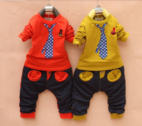 cotton clothing for children - Retail Hot Sale100 Cotton Fashion Clothing For Children Baby Boy Suit Fake Tie Set Long Sleeve Sport Suit