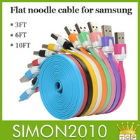 Wholesale Micro USB cable M FT M FT M FT Noodle Flat sync data charge cord For samsung S5 S4 S3 LG HTC Sony blackberry Nokia colorful cable