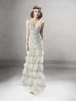 Wholesale 2014 Fashion New Luxury A Line White Organza Heavily Beads Rhinestone Sheer V Neck Backless Silver Feather Long Wedding Dresses Bridal Gowns