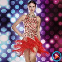 Wholesale 2016 HOT cheongsam lace women latin dress girls plus size red tassel dancewear ballroom sequins fringe latin dress