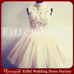 Wholesale Elegant High Neck Short Homecoming Dress with Glamorous Attractive Lace Top and Embellished Ball Gown Champagne Tulle Young Party Dresses