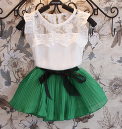 Wholesale 2014 Summer Children Clothing Girls Sets Kid Short Sleeve Lace T Shirt Tops Bow Pleated Skirt Outfit Kids Girl Sweet Outfits I1568