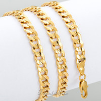 Wholesale CUSTOMIZE SIZE MM Curb Cuban Chain Necklace K Gold Rose Filled Necklace MENS BOYS Chain Necklace Fashion Jewelry Gift GN30