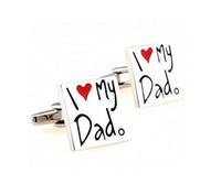 Wholesale Novelty I Love My Dad Cufflink French Cufflinks Father s Day Gift For Mens Boy Jewelry Silver Cuff Links C25