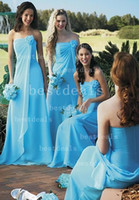 Blue strapless long bridesmaid dresses 2014 ruffle A line be...