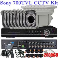 al por mayor dvr kit sistema de alarma de seguridad-Más valorados videovigilancia kits de seguridad para el hogar sistema de audio de alarma térmica de 8 canales instalar grabador DVR 8 canales con disco de 2TB HDD