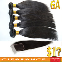 Wholesale Clearance Sale Buy Hair Bundles Get One Free Closure A Brazilian Peruvian Indian Malaysian Virgin Hair Weave Straight Hair Extensions
