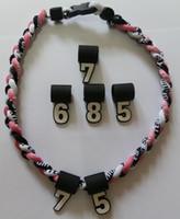 Breloques pour colliers France-Collier de titane charmes Nombre suspendus silicone pour 3 cordes tressées tornato collier de titane