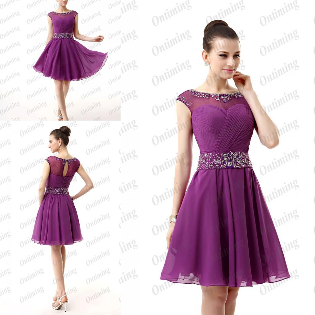 Purple Chiffon Short Homecoming Dresses Knee Length Sash Pleated ...