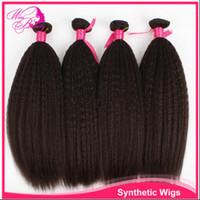 Brazilian Hair yaki weave hair - Brazilian Kinky Straight Virgin Hair Weaves Unprocessed Human Hair Extensions Bundles Remy Hair Weft Coarse Yaki