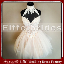 Wholesale Most Beautiful Short Puffy Homecoming Dress with Unique Glamorous Lace Applique High Neck and Embellished Bones Elegant Tulle Cocktail Gowns