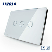 Wholesale LIVOLO Switches US AU standard VL C303DR Crystal Glass Panel Digital Touch Screen Dimmer Remote Control Home Wall Light Switch Remote