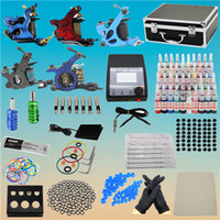 5 Guns Beginner Kit tattoo lit USA Dispatch Professional complete cheap tattoo kits 5 Machine Guns Power Grips Needles Tips Supplies 40 Inks Needles SetFree shipping