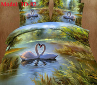 Polyester / Cotton Knitted Home swan swiming 3d bedclothes queen size suit for bed 1.5m-2.0m bedding sets top grade adult bedspreads 3d cotton reactive printing sheets