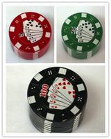 Wholesale New Metal Three Layers Poker Style Herbal Herb Tobacco Grinder Hand Muller Black