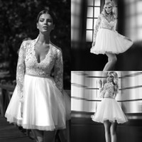 bead story beads - 2014 Hot Sale Short Wedding Dresses Love Story by Bien Savvy Deep V neck Long Sleeves Knee Length Lace Tulle Bridal Gowns EM02133