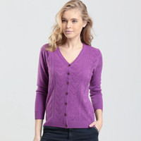 Wholesale Women s Cardigan Sweater Long Sleeve Solid Color V Neck Knitted Top High Quality
