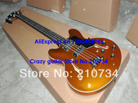 Wholesale NEW Custom EB Bass Guitar Goldtop Hollow Body Strings bass Top guitars