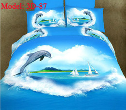Wholesale dolphin d oil painting bedding sets sea and sky linge de lit pieces queen king size bedding lines top grade sheets wedding bedclothes