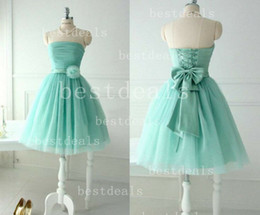 Wholesale Turquoise Blue Strapless Homecoming Dresses Tulle Pleats Flowers Sash bow Lace Up Back short prom dresses CPS004 Under