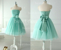 Turquoise Blue Strapless Homecoming Dresses 2014 Tulle Pleat...