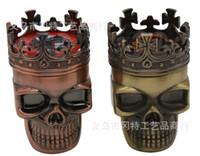 Wholesale New Arrive King Skull Shape Metal Tobacco Grinder Herb Smoke Grinders Hand Muller Magnetic
