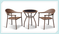 Wholesale 2014 LUXURY OUTDOOR FURNITURE PICNIC STEEL RATTAN SET OF GARDEN IRON COFFEE DESK TABLE AND RATTAN CHAIR