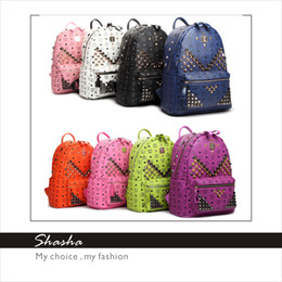 Wholesale 2014 Fashion brand designer MCM Men backpacks Korean star EXO style women shoulder bags girls boys hiking biking leather bag size AXB00070