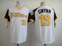 Wholesale San Diego quot Padres quot GWYNN White Throwback Jersey Authentic Baseball Jerseys Logo Embroidery Cheap Sports Jerseys Men Baseball Uniforms