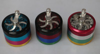 pocket parts - New Metal Alloy Tobacco Herb Grinder Pocket with Parts Cigarette Smoking Spice Crusher layers HAND CRANK