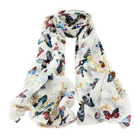 Fashion ladies designer scarf - Colorful Ladies Scarvies New Designer Butterfly Pinting Chiffon Long Scarf For Fashion Women Summer